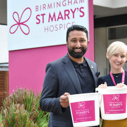 Jamil Shabir (Bootcamp Media) and Pamela Hodgetts (Birmingham St Mary's Hospice)